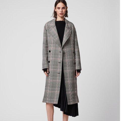 注册8.5折 £219收羊毛大衣上新:Allsaints 春季新品大衣上架 英伦格纹设计 乍暖还寒天气里帅气范秒get