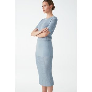 COS蓝色针织半裙