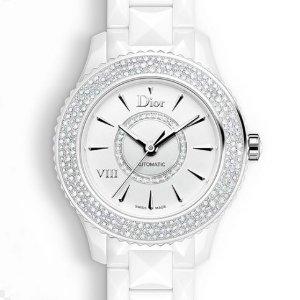 额外$400 $3995+包邮免税DIOR VIII 珍珠母贝镶钻陶瓷机械奢华女表