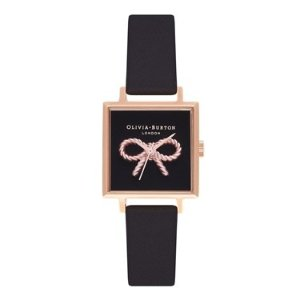 Olivia Burton25% off $165 purchase3D Vintage Bow Black & Rose Gold Square Watch