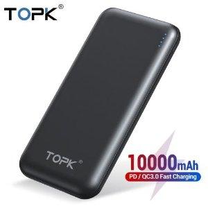 $9.99包邮TOPK 10000mAh PD/QC 双协议 移动电源