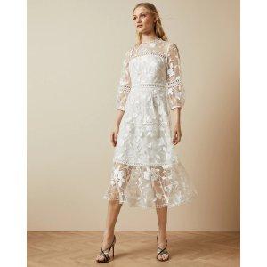Ted Baker白色蕾丝连衣裙