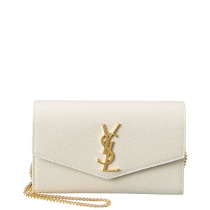 Saint LaurentUptown Embossed Leather Wallet On Chain