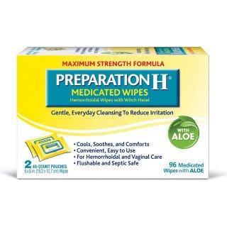 $9.01 包邮Preparation H 药用痔疮湿巾 2包 共96张