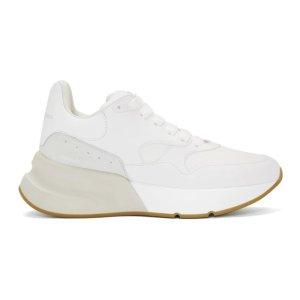 Alexander McQueen- White & Beige Oversized Runner Sneakers