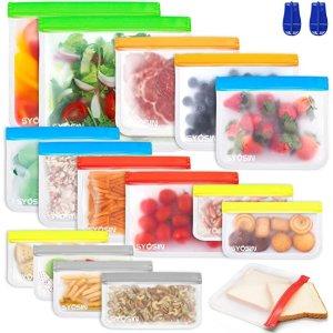 可重复使用!不含BPA食物保鲜袋 16个装