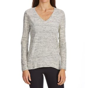 G.H. BASS & CO. Women's Mixed Media V-Neck Long-Sleeve Top