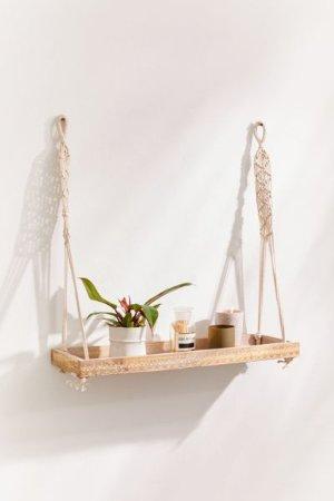 Esmeralda Macramé Hanging Shelf | Urban Outfitters