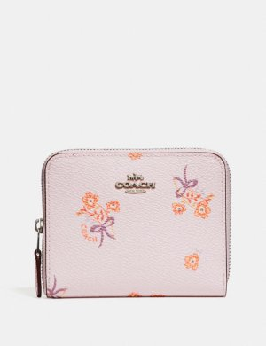 Small Zip Around Wallet With Floral Bow Print | COACH