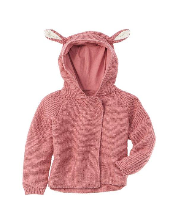 小兔头羊毛混纺婴儿外套