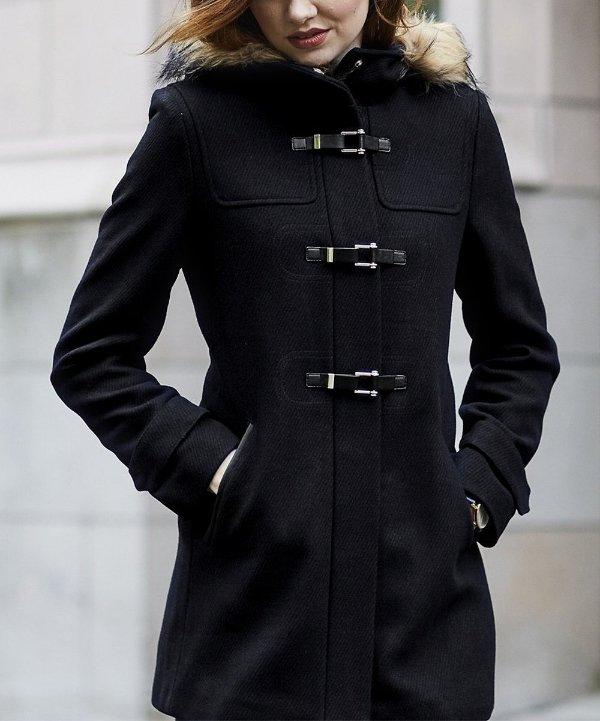 羊毛混纺连帽外套