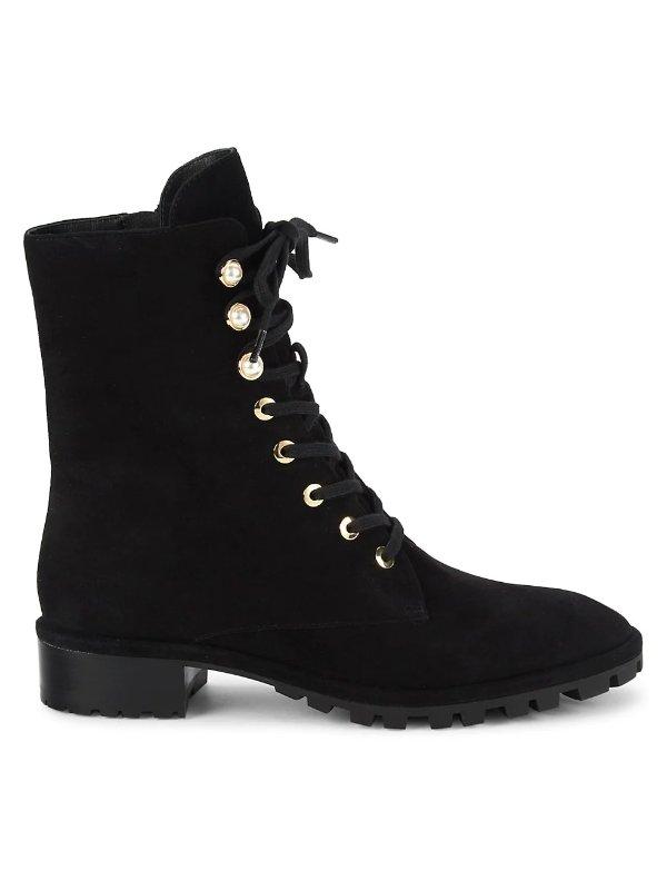 珍珠麂皮马丁靴