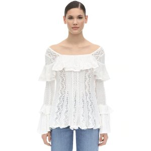 Self-PortraitRUFFLED COTTON KNIT SWEATER