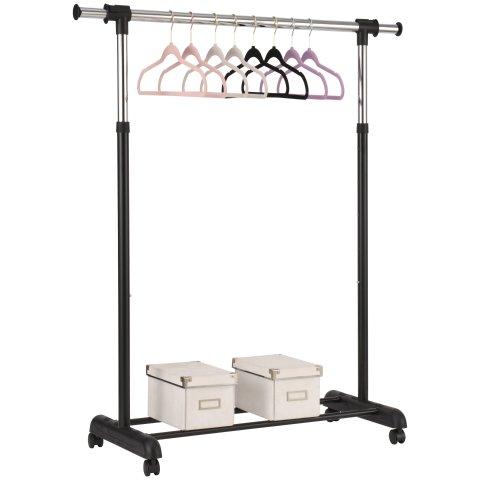 8.93Mainstays Adjustable Rolling Garment Rack, Chrome & Black