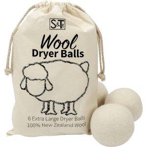 $16.94(原价$21.72) 烘衣省电神器S&T 新西兰羊毛干燥球 6个装 烘干机小助手