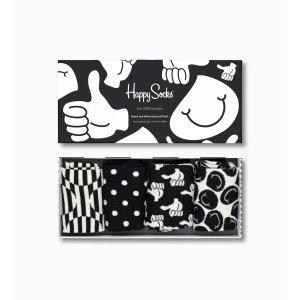 Happy Socks4双礼盒 黑白袜