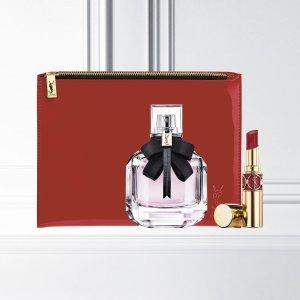 YVES SAINT LAURENT含香水50ml+口红+化妆包反转巴黎 香水礼盒