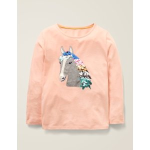 BodenSequin Animal T-Shirt - Provence Dusty Pink Horse | Boden US