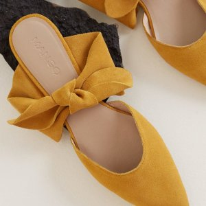 Mango蝴蝶结穆勒平底鞋