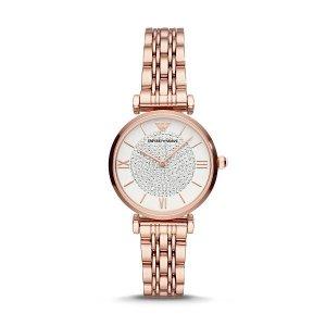 Emporio Armani满£1000享8折女士满天星镶钻手表 玫瑰金
