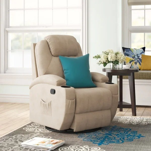 Red Barrel Studio® 可调节躺椅 带加热和按摩功能