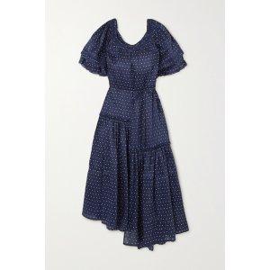 Apiece ApartSandrine asymmetric ruffled polka-dot linen and silk-blend dress