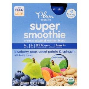 Plum Organics Super Smoothie - Blueberry Pear 16oz (4 pk) : Target