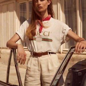 变相7.9折起Gucci 定价优势 大Logo短袖$450 大牌复古时髦风