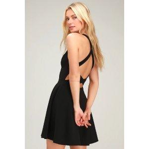 LULUSKatrina Black Strappy Sleeveless Skater Dress