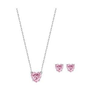 粉色心形项链耳钉套装