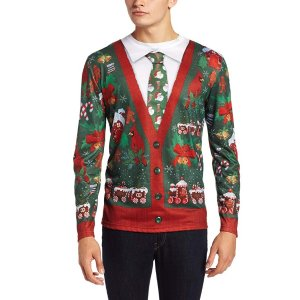 be993b7f2 FAUX REALFaux Real Men s Sublimated Ugly Christmas Sweater Long Sleeve  T-Shirt