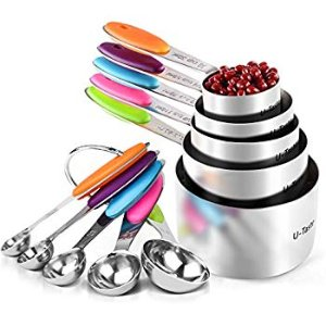 Amazon.com: U-Taste 10 Piece Measuring Cups and Spoons Set in 18/8 Stainless Steel: Kitchen & Dining