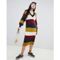 Monki 条纹V领毛衣裙