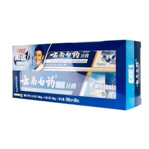 云南白药美白牙膏(买大赠小)100克, 赠送30克益生菌牙膏