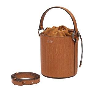 Meli MeloSantina Tan Woven Leather Bucket Bag for Women