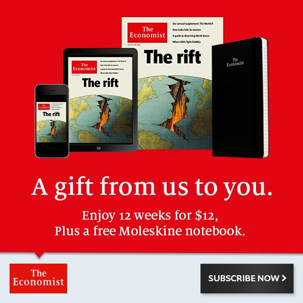 Expired 12 Weeks for $12 Free Moleskine Notebook @The Economist