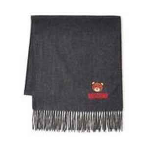 Moschino灰色小熊羊绒围巾
