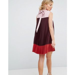 0ae468593 ASOSTed Baker Color Block Pleated Swing Dress with Bow Back at asos.com