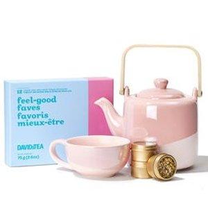 12盒茶品+粉红茶壶+杯子母亲节礼包