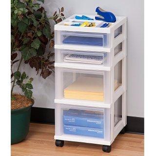 $18.06IRIS 4-Drawer Rolling Storage Cart with Organizer Top, White