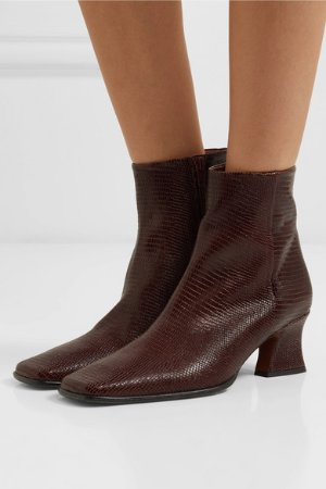 BY FAR | Naomi lizard-effect leather ankle boots  | NET-A-PORTER.COM