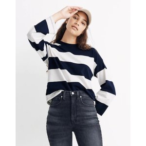 MadewellEasy Crop Long-Sleeve Tee in Rugby Stripe