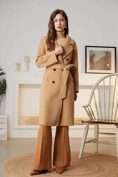 驼色经典双排扣双面羊毛大衣
