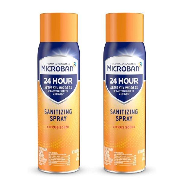Microban 24小时消毒喷雾 15 fl oz 2个装