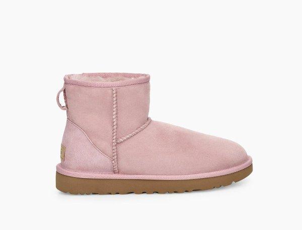 粉色短款雪地靴