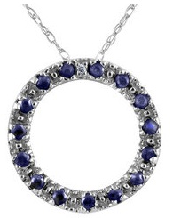 Blue Sapphire Circle Pendant with Diamond in Sterling Silver with Chain