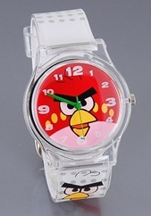 $1Angry Birds Design Round Dail Case Rubber Strap Analog Watch (White)