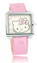 $1608 Hello Kitty Square Leather Band Quartz Watch (Pink)
